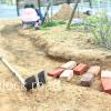 レンガの小道づくり-1【土の掘り下げ編】